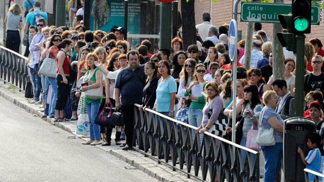 Long queues for a bus: Commuters in Madrid struggled on Tuesday as a labor strike shut down the Spanish capital's subway.