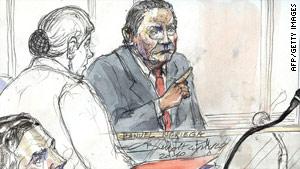 Court sketch shows former Panamanian dictator Manuel Noriega in a Paris court on June 28.