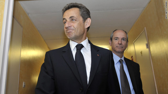 French President Nicolas Sarkozy pictured visiting Brie-Comte-Robert hospital on July 6, 2010.