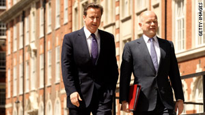 David Cameron, left, with Foreign Secretary William Hague.