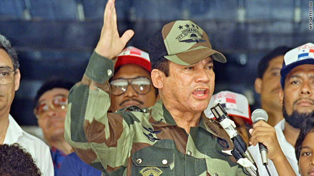 Manuel Noriega, pictured in 1988, addresses a military event in Panama City.