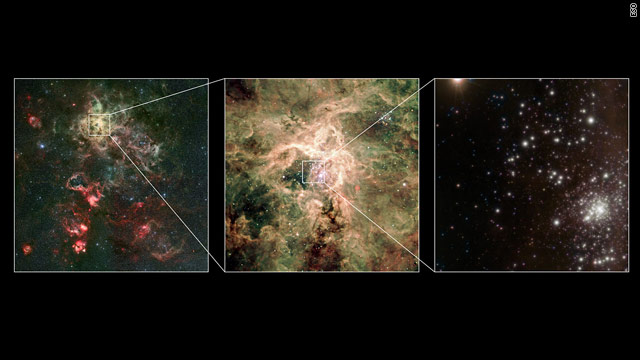 The massive star is in the Tarantula Nebula, 165,000 light years from our galaxy.