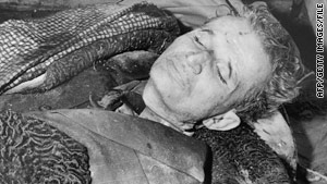 The body of Romanian dictator Nicolae Ceausescu, reportedly photographed immediately after being executed in 1989.
