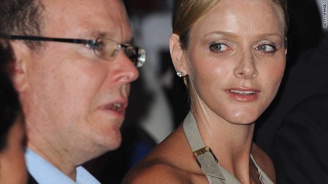 Prince Albert II of Monaco and fiance Charlene Wittstock attend the annual Fight AIDS Monaco Gala dinner on July 16, 2010.