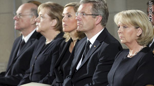 German Chancellor Angela Merkel (second from left) attends  the commemoration service.