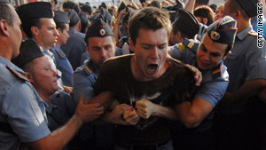 A political opposition activist was arrested Saturday at a rally in Moscow.
