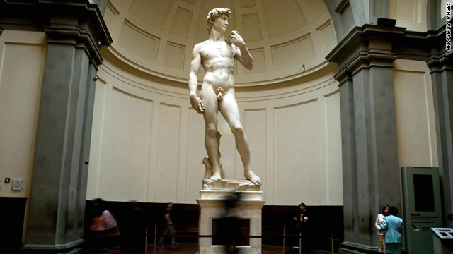 Michelangelo's famous marble statue, David, is displayed at the Florence's Accademia Gallery.