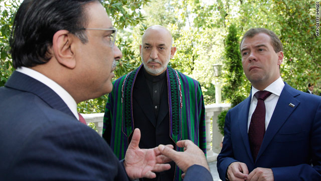 Pakistan President Asif Ali Zardari, Russian President Dmitry Medvedev and Afghan leader Hamid Karzai meet Wednesday.