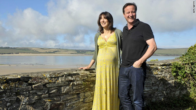British PM David Cameron and his wife Samantha on holiday in Cornwall, south-west England,  August 22, 2010.