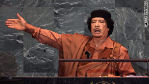 Libyan leader Moammar Gadhafi, pictured her in September 2009 at the United Nations, New York.