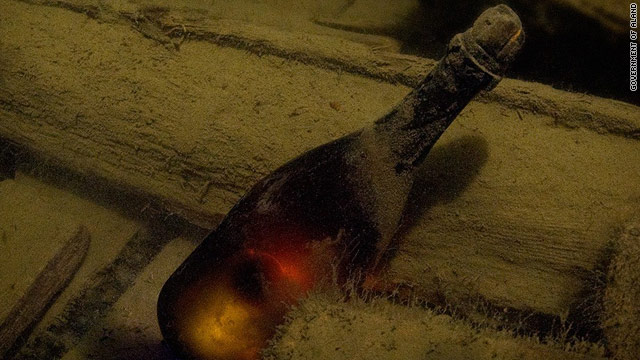 The shipwrecked cargo of champagne and beer is believed to date from between 1800 and 1830.