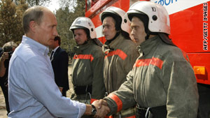 Russian PM Putin has allocated $33M to two regions affected by fires.