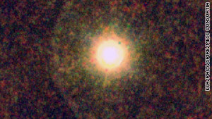 The dying star IRC+10216 is surrounded by a large volume of high-temperature water vapour.