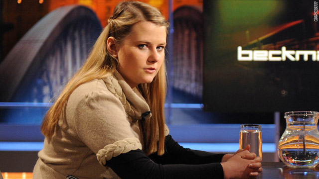 Natascha Kampusch pictured in a German TV studio during the recording of Beckmann, on September 4, 2010.