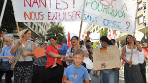 People in Nantes, France, on Saturday protest the treatment of ethnic Roma by the French government.