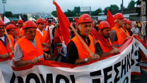 Greek workers marched Saturday in Thessaloniki.