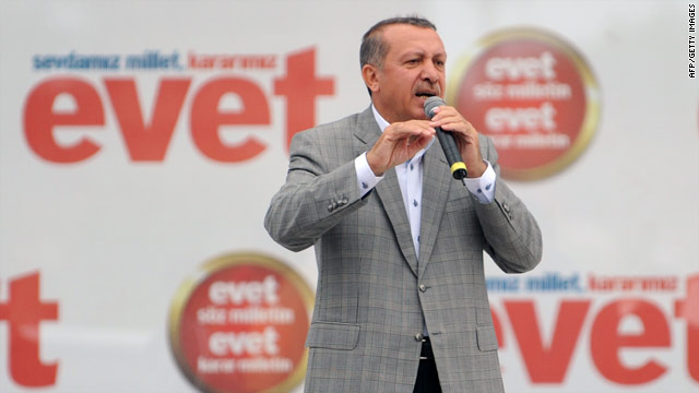 "Turkish Prime Minister Recep Tayyip Erdogan has spearheaded the ""Yes"" campaign for constitutional change."