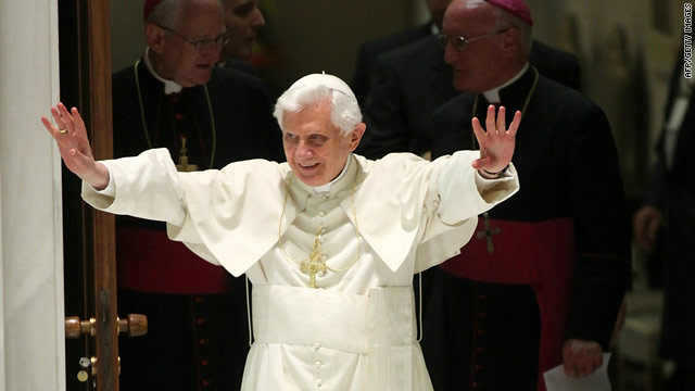 On the eve of his visit to the United Kingdom, Pope Benedict XVI attends his weekly audience Wednesday in Vatican City.