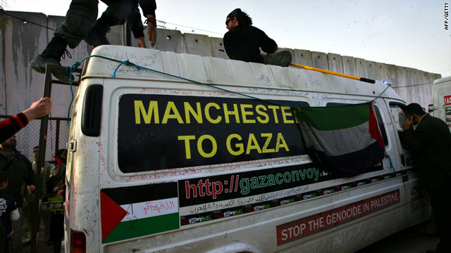 Activists prepare a vehicle on Saturday that will form part of a convoy taking supplies to Gaza.