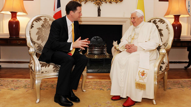 Pope Benedict XVI meets British deputy prime minister Nick Clegg in London on Saturday.