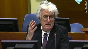 Radovan Karadzic in the Hague courtroom on April 13, 2010.