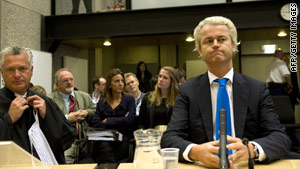 Wilders, pictured in court on Monday, leads the third-largest party in the Dutch parliament.