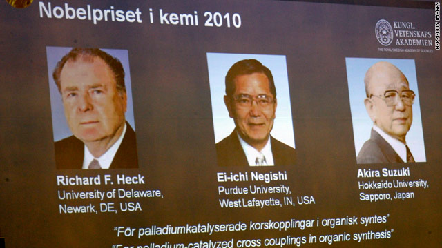 The 2010 Nobel Prize in chemistry went to Richard Heck, Ei-Ichi Negishi  and Akira Suzuki.