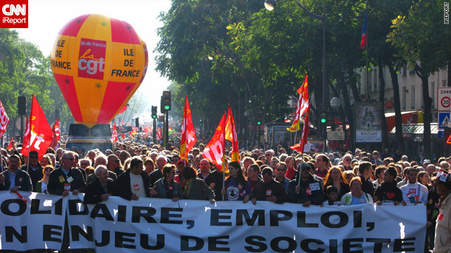An iReport image of demonstrations against government plans to raise the French retirement age, October 12, 2010.