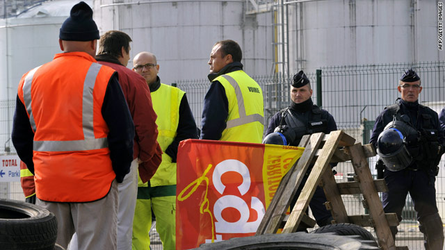 French union members block a fuel depot near the town of Clermont-Ferrand in Cournon-d'Auvergne on October 13, 2010.