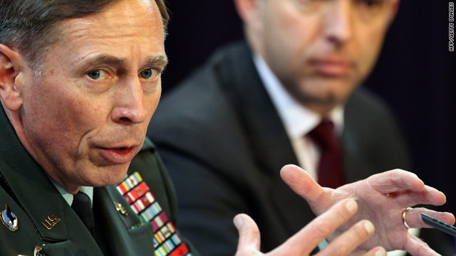 General David Petraeus with Mark Sedwill, NATO's Senior Civilian Representative in Afghanistan, on October 15, 2010.