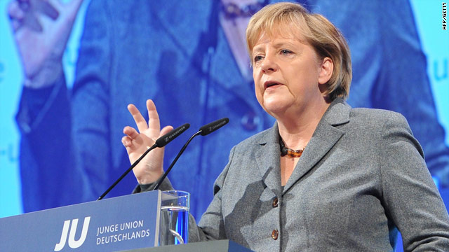 Chancellor Angela Merkel addresses a meeting on Saturday during which she said multiculturalism had failed in Germany.