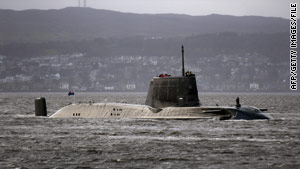 HMS Astute is shown off Scotland in 2009.