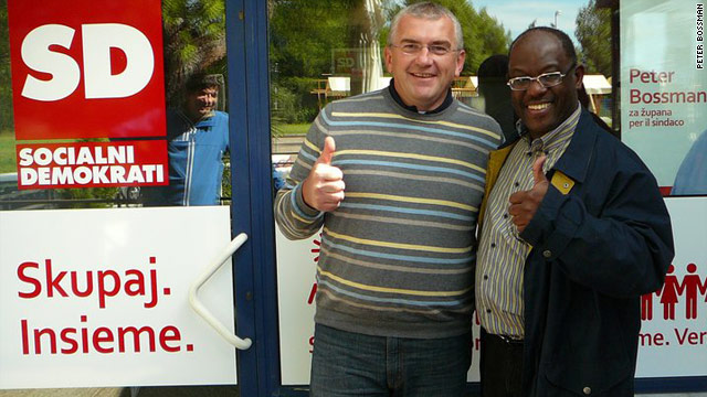 Peter Bossman, seen here on the campaign trail in Darjan, is the first black man to be elected mayor of Piran, Slovenia.