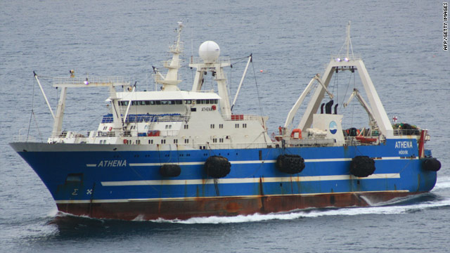 Undated handout photo shows the Faroe Islands' registered fishing vessel 'Athena.'