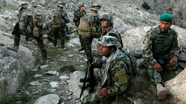 French and Afghan soldiers patrol in September.