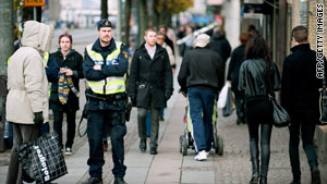 Police patrol central Gothenburg following a bomb threat on Saturday.