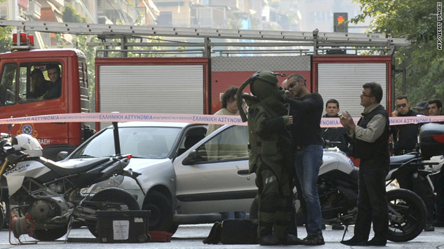 Bomb disposal experts explode another suspect parcel reportedly addressed to the Dutch Embassy in Athens, Nov. 1, 2010.