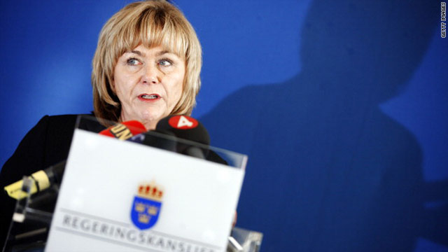 Sweden's Justice Minister Beatrice Ask speaks about Stockholm's knowledge of the U.S. Embassy's surveillance of Swedish citizens during a press conference in Stockholm on Saturday.