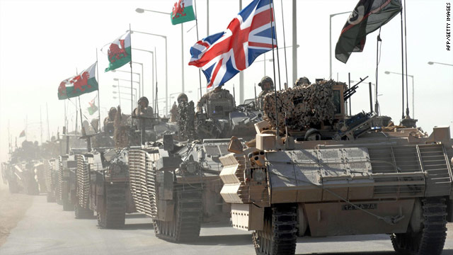 A British military convoy in Basra, southern Iraq, in 2007.