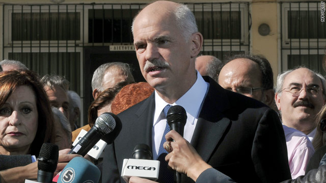 "Greek Prime Minister George Papandreou -- seen here on November 7 -- said that his country has ""reversed a downward spiral."""