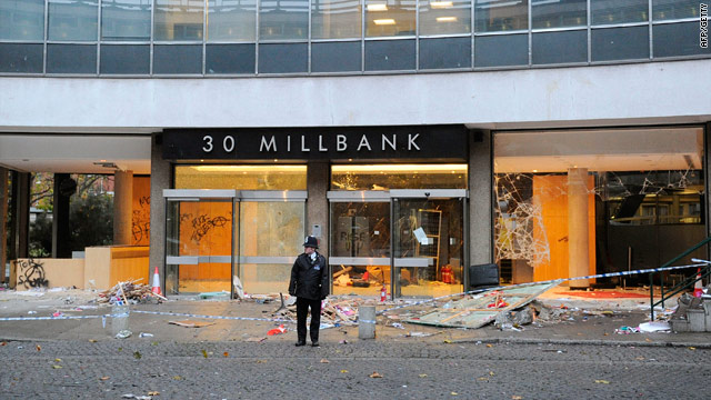 Millbank Tower in London on November 11 after students stormed the headquarters of Britain's ruling party on Wednesday.
