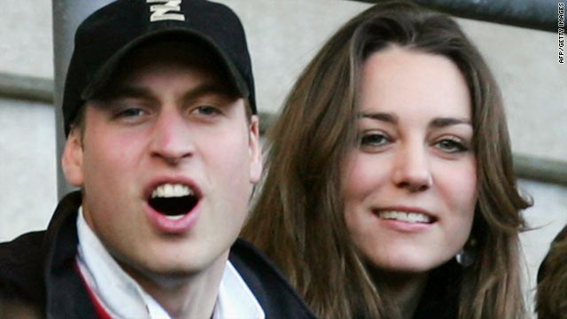 Prince William and Kate Middleton at the RBS Six Nations Championship match between England and Italy at Twickenham in London in 2007.