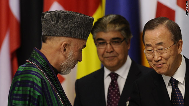 Afghan President Hamid Karzai, left, appears with  U.N. Secretary-General Ban Ki-moon, right, at the Lisbon NATO summit.