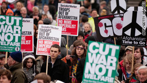 Demonstrators in London came out in force Saturday in a show of support for the antiwar movement.