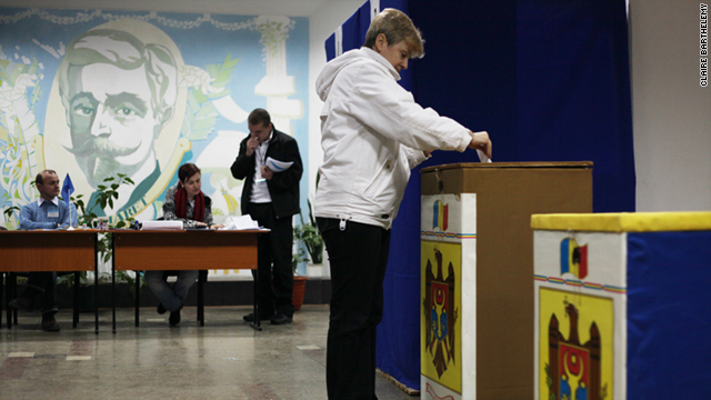 A voter casts her ballot in Moldova's capital, Chisinau, on Sunday.