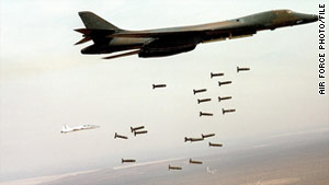 A B-1B Lancer unleashes cluster munitions.
