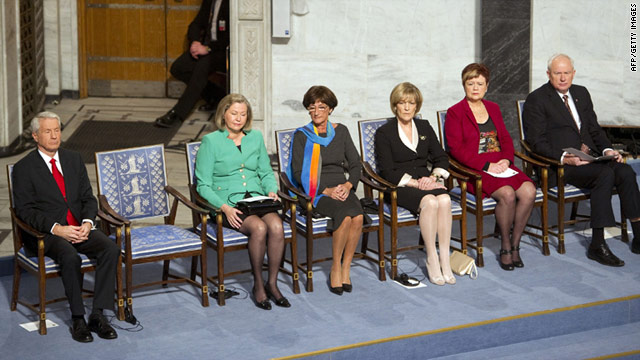 An empty chair represents imprisoned Nobel Peace Prize winner Liu Xiaobo at Friday's ceremony in Oslo, Norway.