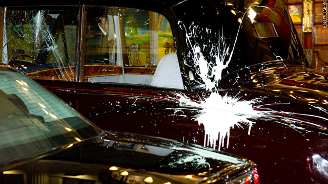 The car carrying Prince Charles and Camilla, the Duchess of Cornwall, was attacked in central London.