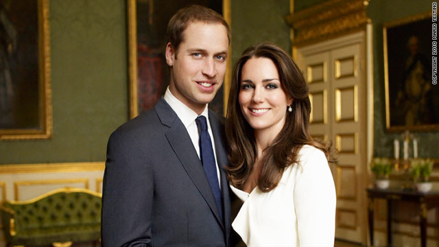 The official engagement photos of Prince William and his fiancee, Kate Middleton, were taken at St. James Palace in London.