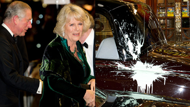 Charles and Camilla's car was hit with paint and a window was cracked as the vehicle drove through protesters.